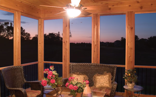 rustic and stylish screened porch