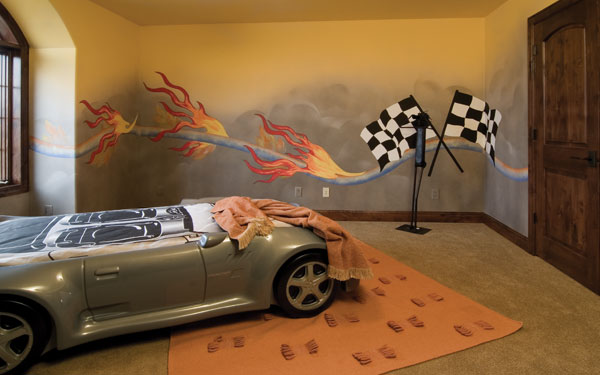 boy's bedroom with racing car theme