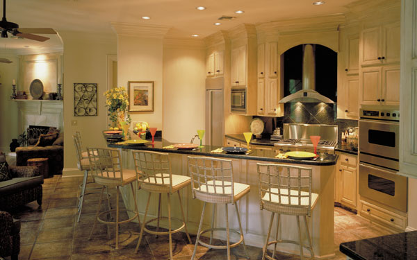 luxury kitchen floor plan with plenty of seating
