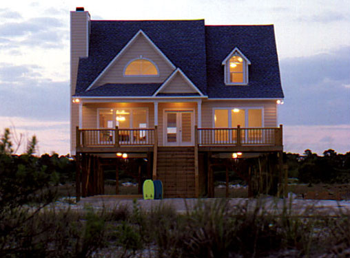beach cottage house plan with a pier foundation