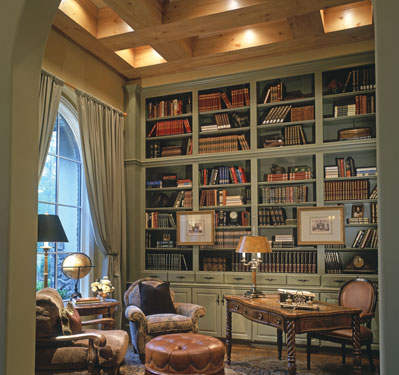 beautiful study with impressive bookshelves
