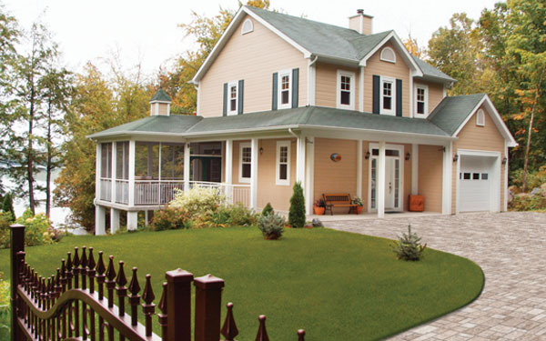 country style house plan with aluminum black fence