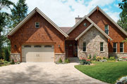 rustic house plan with permeable paver driveway