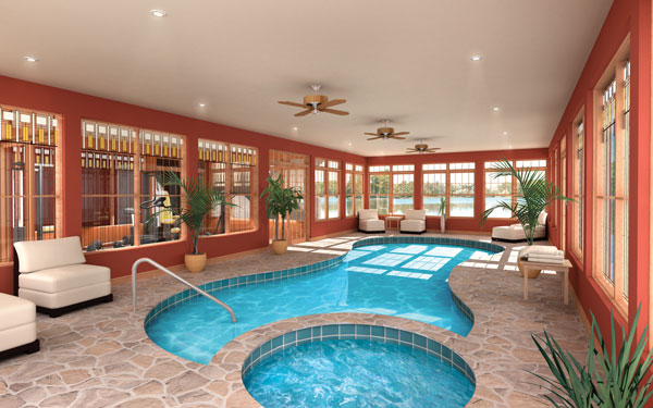 Indoor swimming pools house plans and more for Luxury ranch house plans with indoor pool