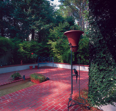 Colorful brick shaded garden