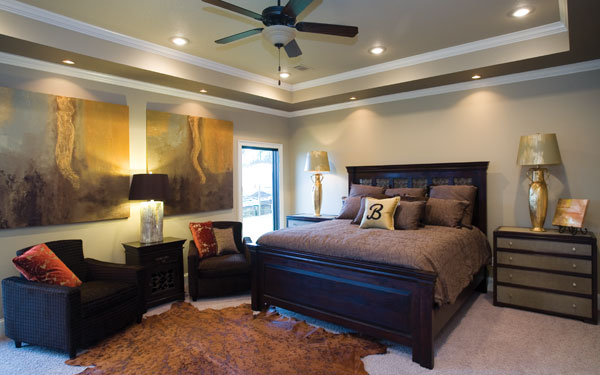 Luxurious master bedroom in rich chocolate tones