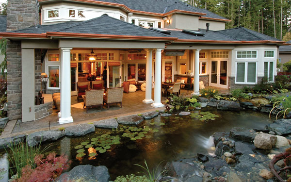 beautiful water pond adds tranquility to outdoor living area
