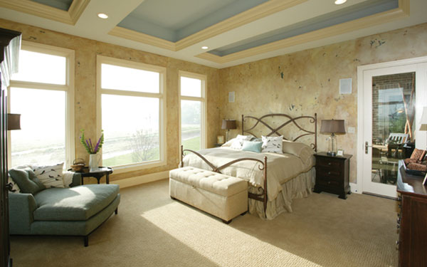 stylish and calming master bedroom suite
