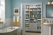 Luxury linen closet located in a private master bath