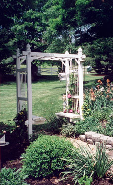 beautiful garden with arbor