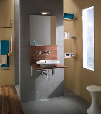tribal color schemed bathroom