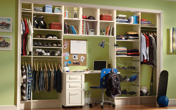 organized closet with built-in shelving