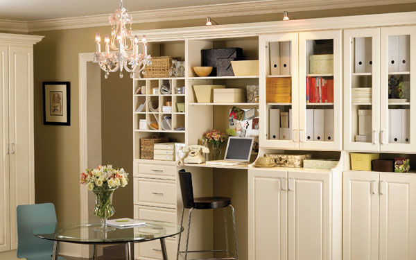 home office with chandelier