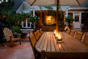 Quaint and cozy patio with candlelight