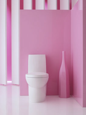 simple pink bathroom