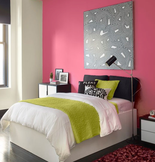 pink walled bedroom