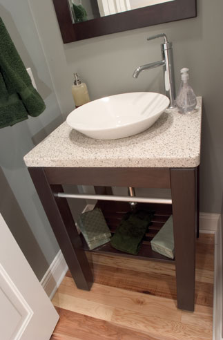 vanity with extra knee is a handicap accessible design
