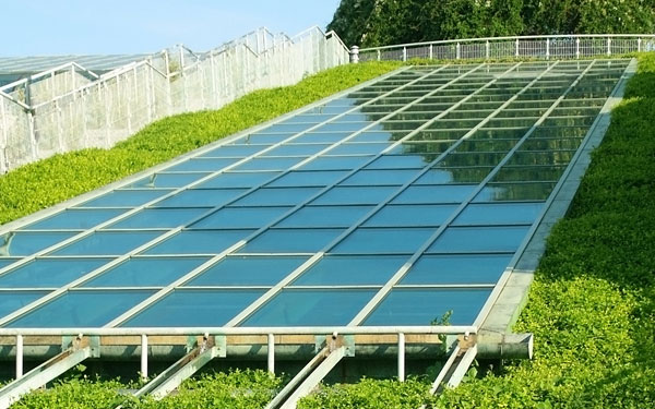 garden with solar panels