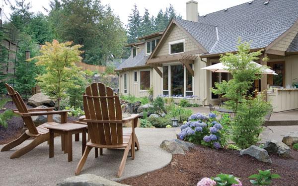 Log rustic homes landscaping basics house plans and more for Log home landscape design