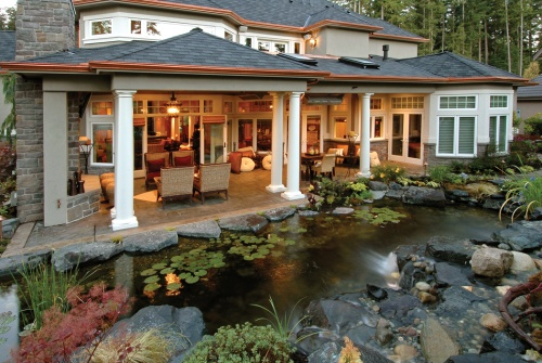 Backyard water features house plans and more for Covered back porch designs