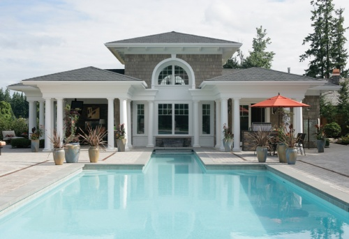 Swimming pools styles pool designs house plans and more for Luxury pool house plans