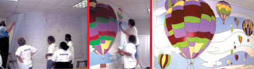 Volunteers painted a mural Texas Scottish Rite Hospital