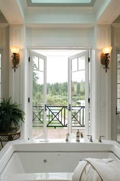 luxury bath with french doors