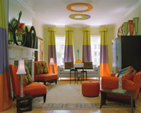 Colorful Interior Decorating in Family Room