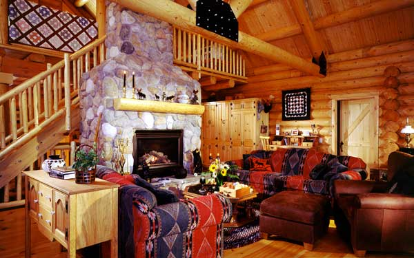 cozy rustic family room