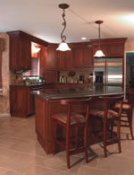 Kitchen with cherry wood furniture