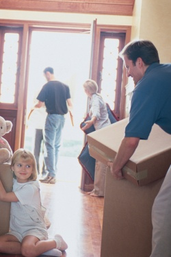 family packing to move