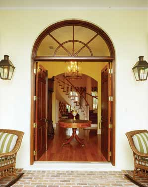 colonial style french door entrance