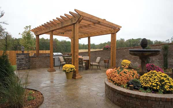 fall landscaped patio