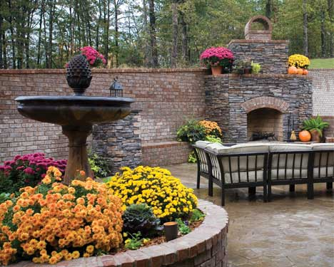 fall decorated patio