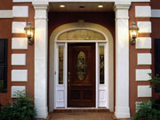 A home's front door moulding
