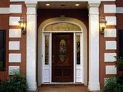 A home's front door moulding