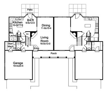 symmetrical duplex floor plan