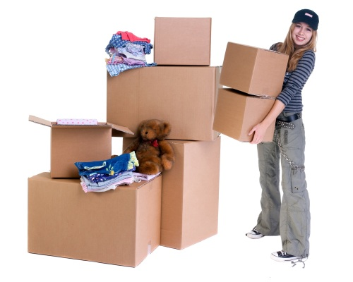girl with moving boxes