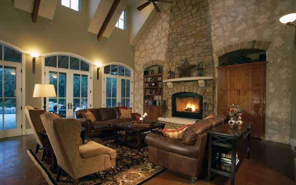 rustic great room with French doors