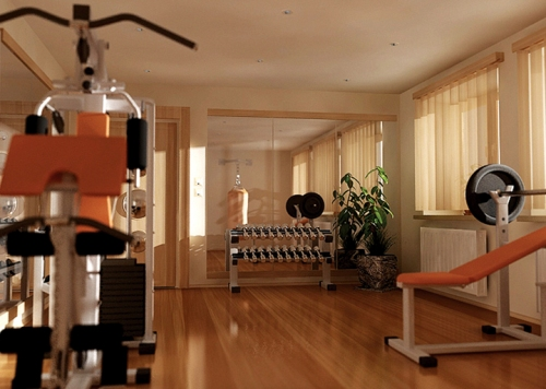 Modern basement home gym area design with tv room home for Home gym room