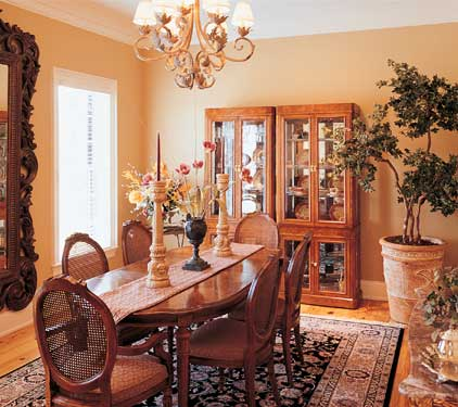 stylish dining room with hutch