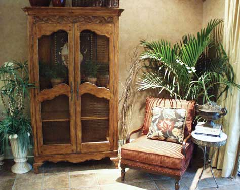 stylish hutch and chair arrangement
