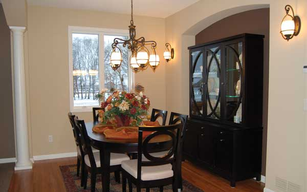 modern style dining room with hutch