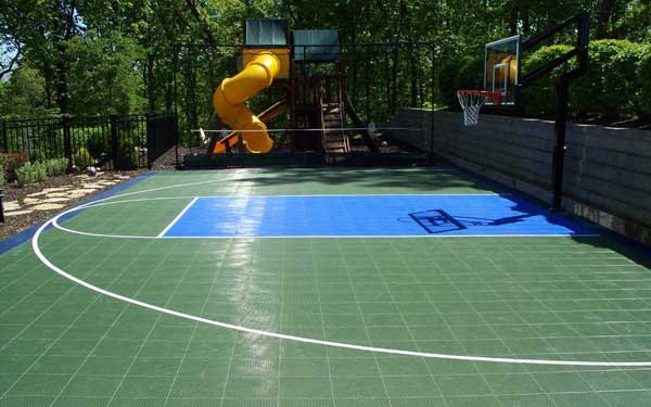 Backyard sport courts house plans and more for How much to build a basketball court