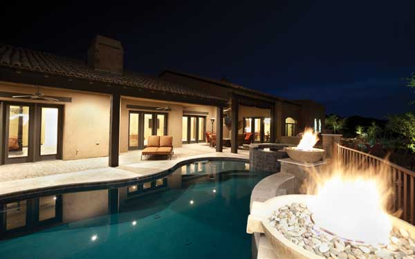 swimming pool with firepit