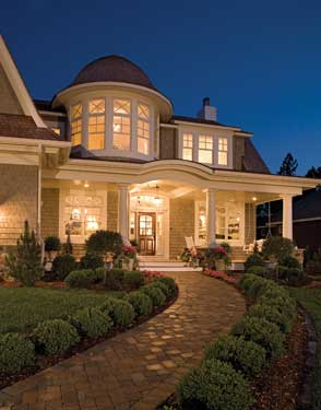 luxury home at night
