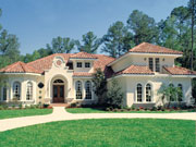 Florida style house plan with clay tile roof