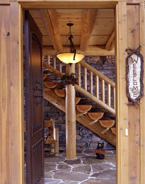 rustic cabin front entry