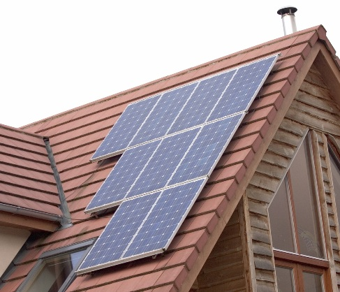 Home with Energy Efficient Solar Panels