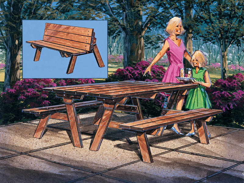 Building Plans Front of Home Picnic Bench & Table